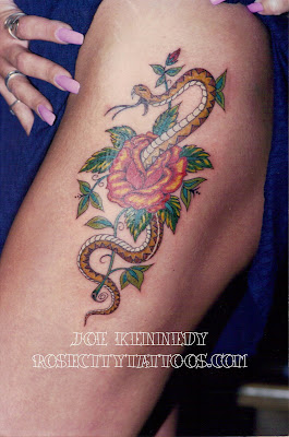 snake and rose tattoo