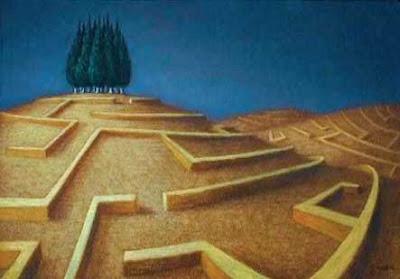 labirinto con cipressi