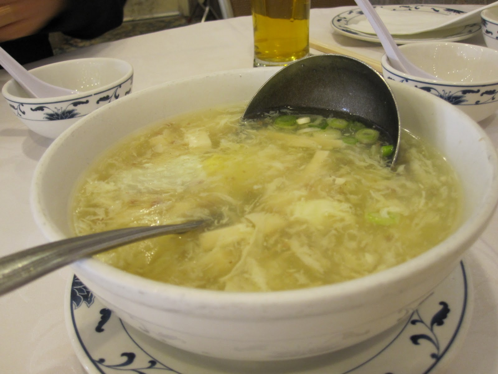 were given egg drop soup probably my favorite oriental soup