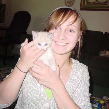 Sarah with her new kitten Ella