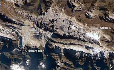 Astronaut photo of the Grasberg Mine