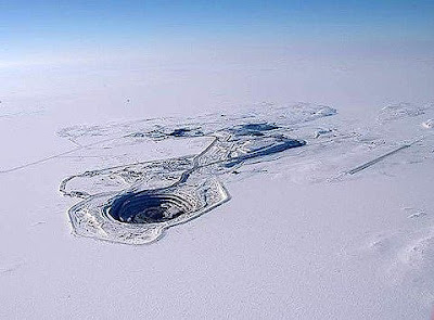 Snow hole: The Diavik Mine encircled by ice
