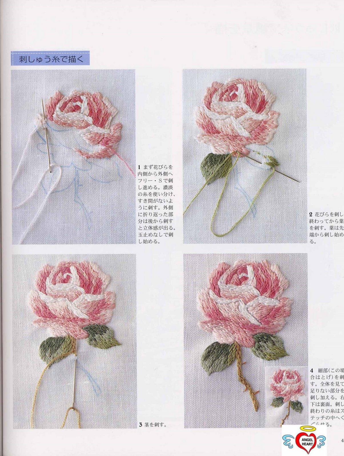 ورود الربيع مطرزة بالخيط الحرير
