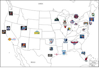 NBA location map Lets play History Geography