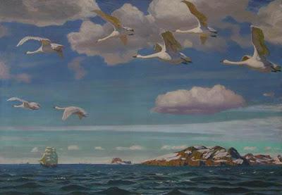 лебеди на картине А.Рылова - В голубом просторе