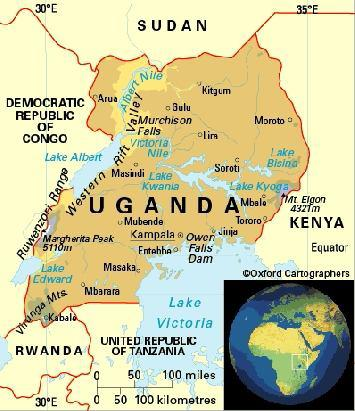 map of kenya and uganda. Map showing Uganda and her