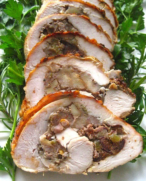 Turkey Roulade With Sausage Stuffing Recipe — Dishmaps