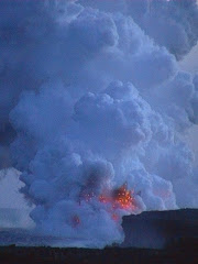 lava exploding into the Pacific ocean