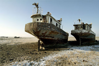 Abandoned and land-locked ships where the Aral Sea once was