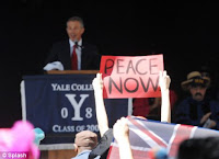 blair gets protested & booed at yale
