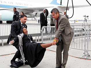 writer forcibly removed from near air force one
