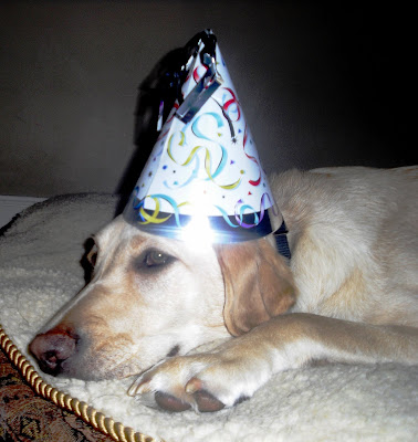 Reyna laying on her bed pouting with a birthday hat on her head.
