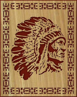 Free scroll saw patterns by arpop indian chief with border pattern