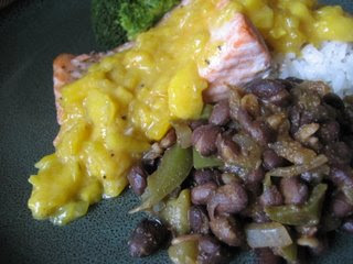 Salmon with Mango Mustard and Black Beans