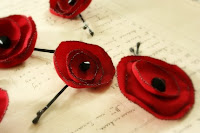 Recycled Poppy Bobbypins in Red by Foundling