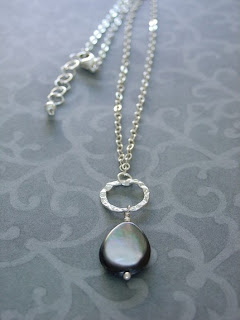 Blacklip Shell Teardrop Necklace from Alison Kelley Designs