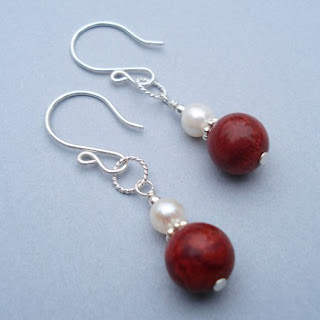 Red Coral Earrings from Alison Kelly Designs