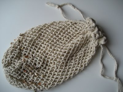 Crocheted Beach Bag with Seashells