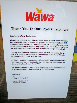 rittenhouse wawa to close