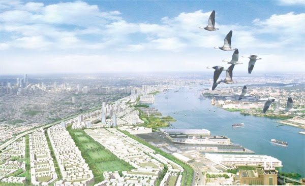 rendering of the delaware river waterfront