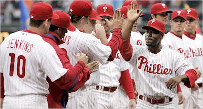 jimmy rollins congratulates his teammates