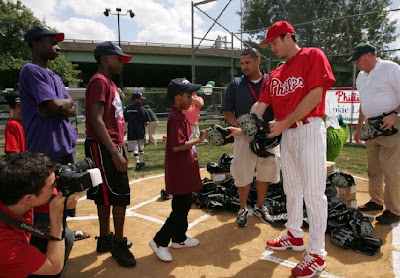 chase utley volunteers with youth in the community, philadelphia phillies