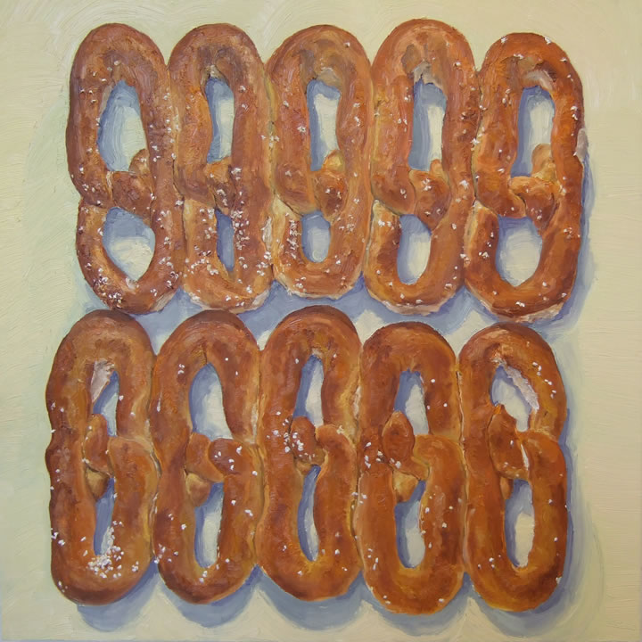 soft pretzels painting by mike geno