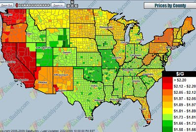 Gas prices us map