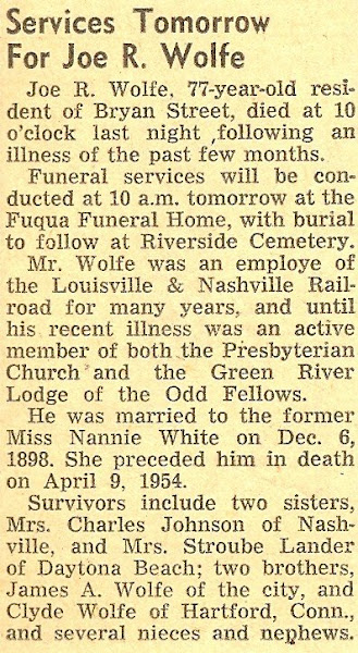 Joe's Obituary, 1954