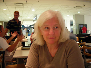 at the airport, waiting to board the flight homeward