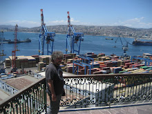 Neil with city and working port of Valparaiso behind him
