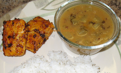 Cucumber Chaaru with Fried Salmon