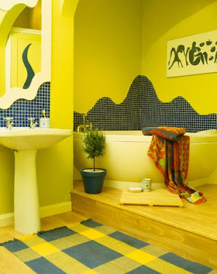 Ultra-luxury-yellow-retro-style-bathroom-with-wash-basin-and-corner-bath