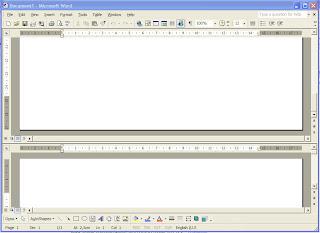 word 2003, tutorial word 2003, trik word 2003, tips word 2003, setting word 2003, ms word 2003, membagi tampilan word 2003 menjadi dua bagian,