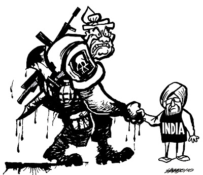 >Cartoon Saw Ngo – India shake hands with murderer