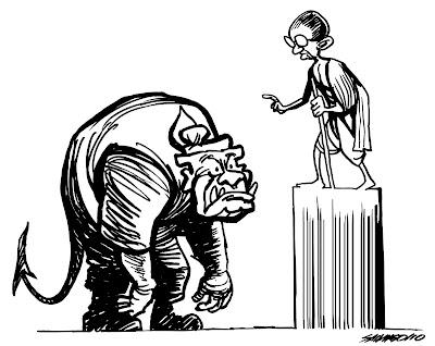 >Cartoon Saw Ngo – Than Shwe & Mahatma Gandhi