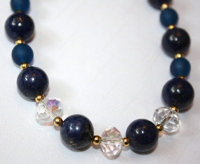 Lapis lazuli, crystal and matt blue crystal