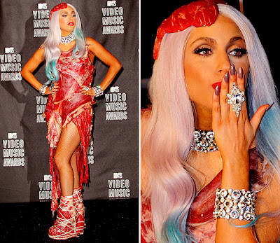 lady gaga meat suite. lady gaga meat dresses.