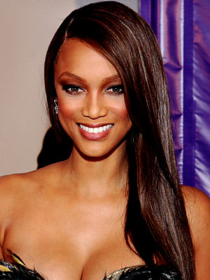 dark hair with pink highlights. Tyra Banks Black Hair