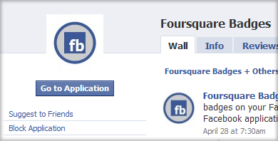 Foursquare Badge app for Facebook