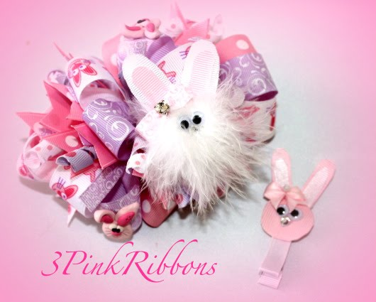 Whimsy Easter Bunny Bow And Clippies