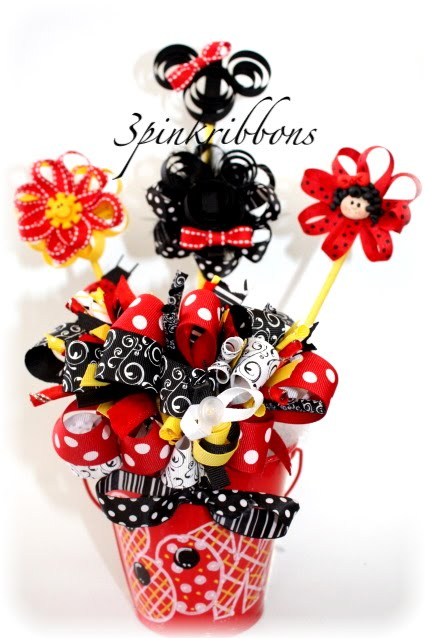 Mickey and Minnie Mouse Bouquet of Hair Bows and Clippies