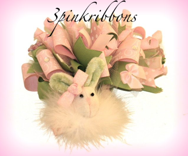 Easter Bunny Boutique Loopy Bow and Marabou Puff Clippie