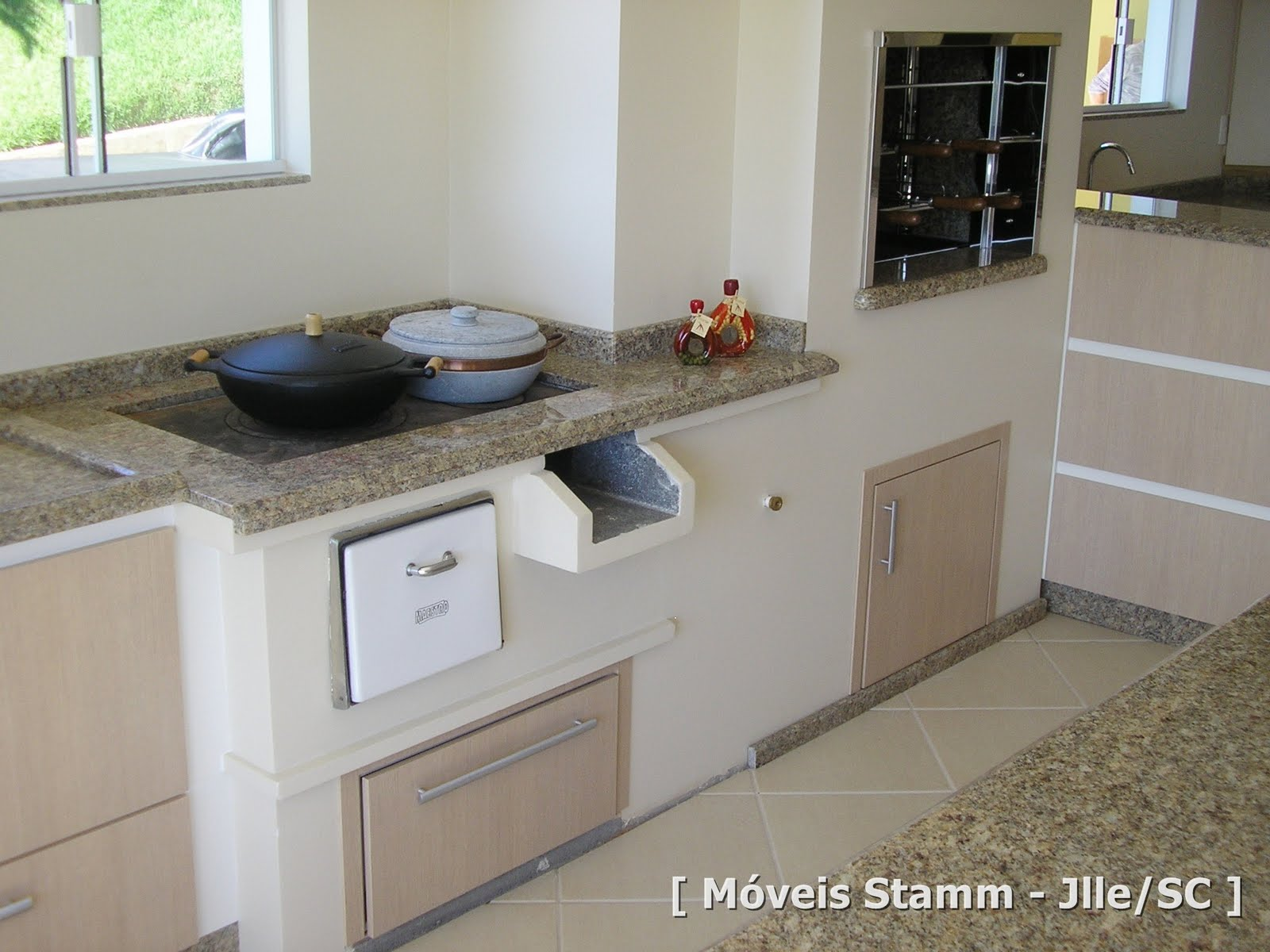 #4C5F79 Móveis Stamm: Cozinha e Churrasqueira Romeu 1600x1200 px Projetos De Churrasqueiras Na Cozinha_5313 Imagens