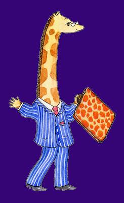 Raph G Neckmann The Escape of a Giraffe Accountant by UK Giraffe Artist Ingrid Sylvestre