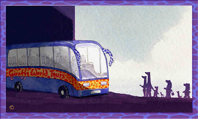 The Neckmann family of giraffes and their new bus for Giraffe World Tours - Ingrid Sylvestre North East artist writer and entertainer Durham UK