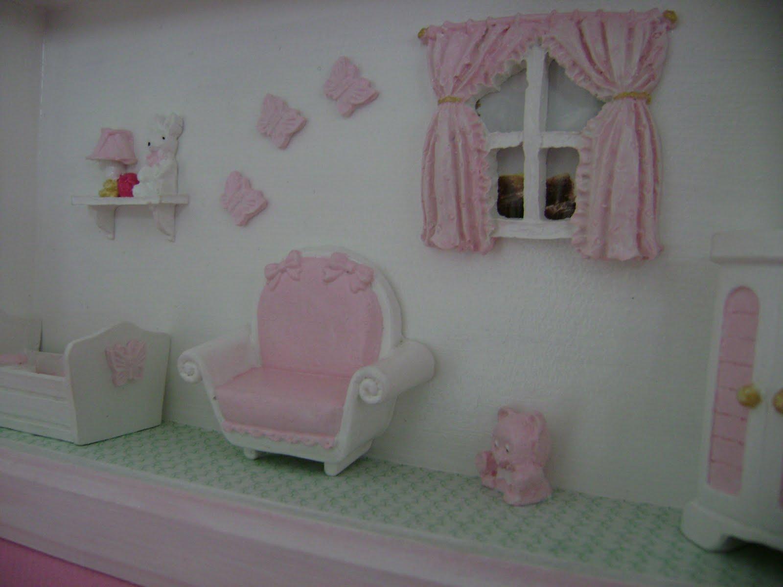 Mania de fazer miniaturas quarto de beb menina - Resina para paredes ...