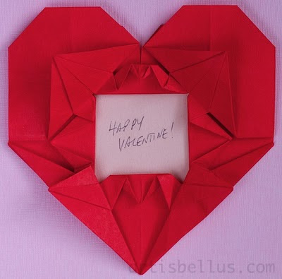 Kissing Cranes Heart Picture Frame - New Origami Model for Valentine's Day