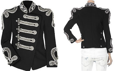 Balmain black crystal military jacket