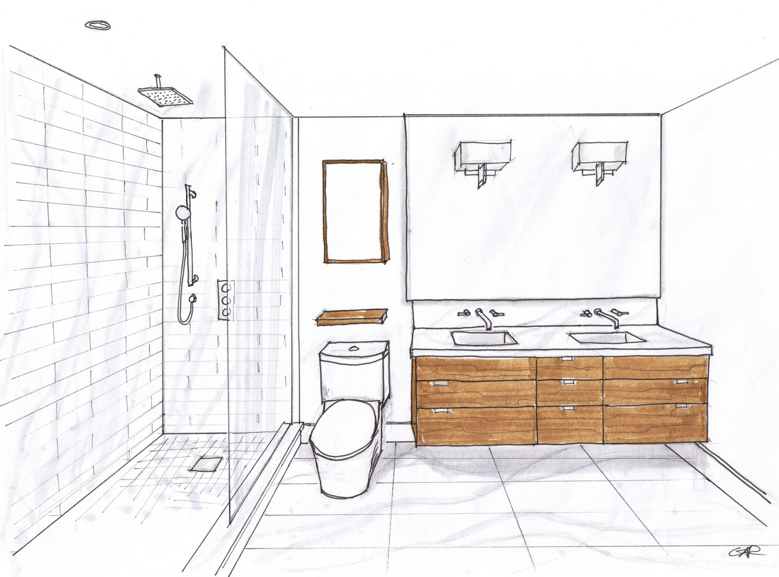 Creed 70 39 s bungalow bathroom designs for Interior design plan drawings